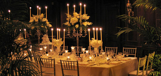 Wedding reception table setting and decor